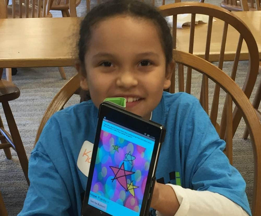 Girl-showing-app creation